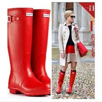 best men rain boots - Best Selling Hunter Boots For women Rubber Hunter Wellies waterproof Low heel hunters with Buckle Strap solid color Rain boots men shoes