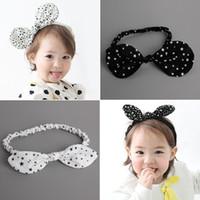 baby bans - 10pcs Fall Wire Inside Baby Stretch Headband White Black Stars Dot Hairband Fashion Cute Princess Rabbit Ear Adjustable Elastic Head Ban