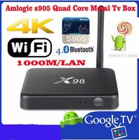 Wholesale 2016 Amlogic S905 Android Support Wifi K D Bluetooth M LAN Kodi Modes X98 Tv Box Included