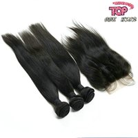 Wholesale 4pcs A lace closure with straight virgin hair weave bundles indian virgin remy hair extensions human hair weft