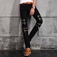 arrival jeans - new arrival New Italy Luxury Famous Brand Versa Original Men Skinny Jeans Zipper Decoration Biker Jean ce