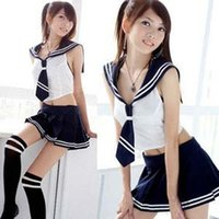 Wholesale Sexy Cosplay Girl Student Uniforms Sexy Underwear Women s Babydoll Lingerie Sexy set Hot Erotic Nuisette Nightwear Dress