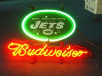 Wholesale NY JETS FOOTBALL BEER BAR NEON LIGHT SIGN Real Glass Neon Light Sign Home Beer Bar Pub Recreation Room Game Room Windows Garage Wall Sign
