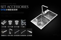 Wholesale Luxury set Brushed Stainless Steel Double Bowl Undermount Sink with Faucet kitchen Sink Class Faucet