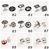 Wholesale 3000pair CCA3850 High Quality Designs Vogue Cufflinks Superman Star Wars Deadpool Spiderman Cufflinks Mens Jewelry Metal Alloy Cuff Link