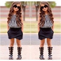 Wholesale 2016 Summer Fashion Kids Girl Outfits Baby Girls Stripe Vest Tops Black Short Pants Children Girls Clothes Set New Arrival
