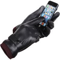 Wholesale Washed Leather PU Men Touch Gloves Plus Thick Velvet Warm Car Ride Riding Gloves