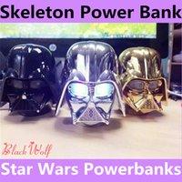 Skeleton Power Banks para Mobile Star Wars Darth Vader Powerbanks para iphone6s Samsung Mobile Fuente de alimentación Batería portátil Cargador de emergencia