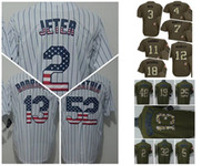 athletics york - HOT New York NY Yankees Derek Jeter White Flag Stitched Baseball Jerseys Babe Ruth Army Green Stitched Baseball Camo Athletic jerseys