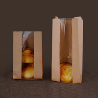 Wholesale 100pcs Paper Bag with Window Food Packaging Standup Kraft Paper Bag Bulk Greaseproof Craft Food Paper Gift Packaging Food Container