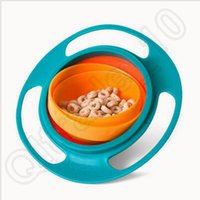 Wholesale 500pcs CCA3739 Creative Baby Gyro Feeding Toy Bowl Dishes Non Spill Universal Rotate Technology Funny Gif Spill Proof Gyro Feeding Bowl
