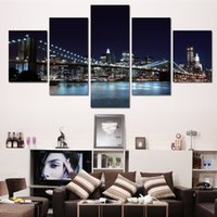beautiful bridges - Canvas Prints New York City Landscape Oil Painting Beautiful Modern Bridge Picture Wall Art Decor Painting Printed On Canvas No frame