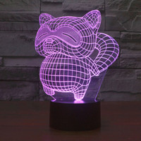 Wholesale 3D Night Light D Illusion LED Lamp With Araiguma Rascal Changing Colors LED Lighting Perfect Xmas Halloween LED Toys VS VR Box