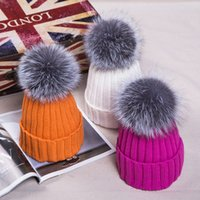 beanie bobble hat - New Winter Fur Pompom hat for women Big Real Fox fur Beanies cap bobble hat