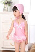 beautiful swimming costumes - Beautiful Summer Girl Swimwear Pink Blue Lace One piece With Hat Children Tankini Girl Bikini Swimming Costume