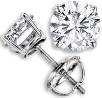 Wholesale 2 CT G H SI GENUINE ROUND DIAMOND STUD EARRINGS K WHITE GOLD NATURAL