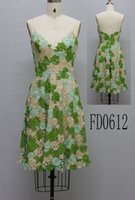 Wholesale USA collection Fall Winter PROM dresses nice embroidery lace green champ mint flower short dress