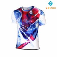Wholesale NEW Spider man marvel compression shirt men fitness crossfit t shirt gym bodybuilding tights sport Quick drying clothing