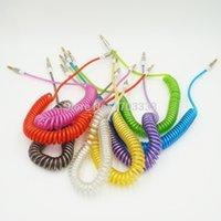Wholesale Colorful mm Retractable Extension Audio Jack Plug Cable Cord Car Aux cables DHL Fedex