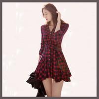 adult plaid skirt - Hot Sales Elegant Vintage Long Sleeve Sashes Women s Plaid Dress Slim Waist Button Winter Women Short Red Casual Mini Dresses Bodycon Skirt
