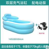 Wholesale Size cm With Electric Pump Inflatable Bathtub ThickeningTub Folding Bath Basin Plastic Bath Bucket