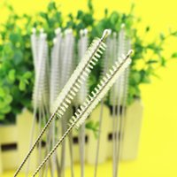 Wholesale Hot Sale Drinking Stainless Steel Straw Brush Metal Reusable Cocktail Drinking Straw Cleaner Brushes Nylon Brush For Straw