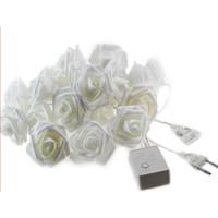 5M 20leds Wedding 6CM Большой цветок розы LED Букет огни строки AC110-240V Красочные светомузыка Rosa Christmas Party Сад Спальня