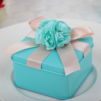 tiffany blue favor boxes - 25pcs Tiffany Blue Square Tin Plate Candy Box Wedding Gift Box Cute Chocolate Container with Artificial Flower Card Decor Size