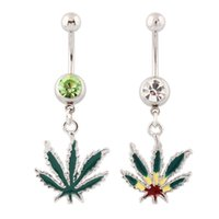 belly button bars - Piercing dangle Jamaican Rasta Pot Leaf gem Belly button rings body jewelry G stainless steel navel bar Clear green