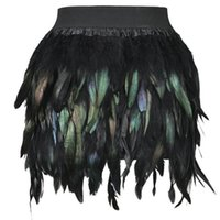 Wholesale 2016 Spring Autumn Latest New Women Feather Mini Skirt Elastic Waist High Street One Size Fits For XS L