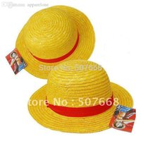 Bon Marché Gros canotier-Wholesale-NEW ONE PIECE LUFFY Anime Cosplay Hat Cap Straw Boater set (5 pièces par lot)