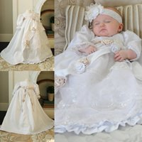 Wholesale Nice Handmade Flowers Christening Dresses For Baby Clothes Jewel Sleeves Girls Clothing First Communion Baptism Gowns