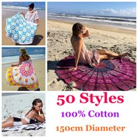Wholesale 50 Styles cm Diameter Cotton Round Beach Towel With Tassels Summer Swimming Sunbath Towels Lady toallas playa serviette de bain