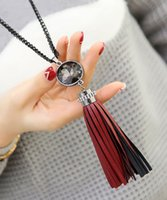 Wholesale New trendy leather tassel long necklaces pendants gift fashion jewelry