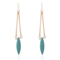 Wholesale Women Fashion Oval Turquoise Stone Dangle Earrings for Party European Gold Long Earring For Gift Jewelry Pairs
