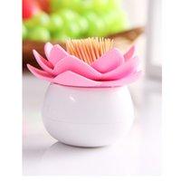 Wholesale Cute Lotus Flower Cotton Bud Holder Toothpick Cases Box Vase Home Bathroom Decor Three Colors Eco friendly