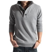 asian knitting - New men autumn winter stand collar sweater men outerwear pullover faux two piece men s sweater knitted Asian Tags Size M XL