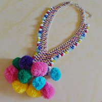 Wholesale Fashion Design Exclusive ETHNIC POM POM BEAD NECKLACE Handmake Colorful Yarn Ball Pendant Collar For Women High Quality