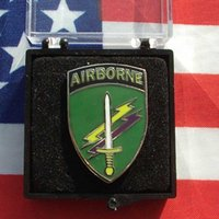 badge background - American airborne metal badge chest emblem AirBorne green background mini identification Chapter medals