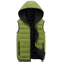 Wholesale Large Size Men Winter Vest Hood Down Coat Slim Waistcoat Korean Jacket Male Down Vest Husband Gift Present Cotton Padded