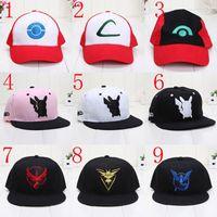 Wholesale 9 styles Adult Poke Go Baseball Caps Kids Fashion Poke Hats Casual Pikachu Caps Poke Ball Snapbacks Hats Hats Hip Hop Caps