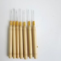 wooden hook - Hook Needles Hook Pulling Needle with Wooden Bar Hair Extension Pulling Needle for hair extensions products