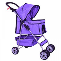 dog stroller - 4 Wheels Pet Stroller Cat Dog Cage Stroller Travel Folding Carrier