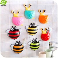 bee toothbrush holder - 1Pc Snail Bee Cartoon Sucker Toothbrush Holder Cute Suction Hook Tooth Brush Cup Tool Bathroom Accessories