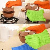 Wholesale Heat Resistant Silicone Glove Cooking Baking BBQ Oven Pot Holder Mitt Kitchen Orange
