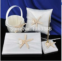 beach ceremony decorations - 1Set Starfish Beach Themed Guest Book Pen Set Flower Girl Basket Ring Bearer Pillow Wedding Ceremony Party Decoration