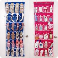 Fabric Tools Eco Friendly 24Pockets Non Woven Hanging Storage Bag Door Holder Home Shoes Organizing Bag with 4 Hooks Space Saver Organizer 55*150cm