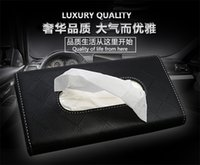 Wholesale Car Styling Sun Visor Tissue Box Fashion Colors Functional PU Leather Tissue Boxes Rear Clip Holder Simplicity Design for Car