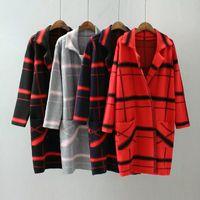 Wholesale WOMENS Ladies Lapel Winter Warm Long Grid Parka Coat Trench Outwear Jacket