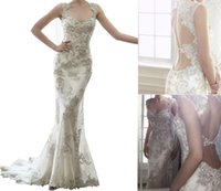 anne wedding dresses - 2017 Sexy Lace Appliques Crystal Mermaid Wedding Dress with Queen Anne Sleeves Sweetheart Neckline Backless and Court Train Elegant Bridal